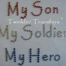 Rhinestone Transfer Iron On ARMY MOM SOLDIER HERO