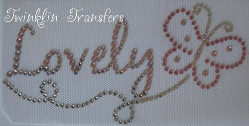 Rhinestone Transfer Iron On LOVELY PINK BUTTERFLY