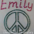 Rhinestone Transfer IronOn PERSONALIZED NAME PEACE SIGN