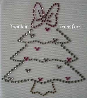 Rhinestone Transfer Iron On MINNIE CHRISTMAS TREE BOW
