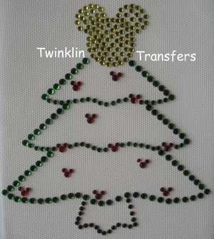 Rhinestone Transfer Iron On MICKEY CHRISTMAS TREE