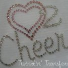 Rhinestone Transfer Iron On LOVE HEART 2 CHEER