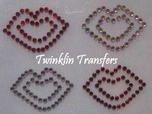 Rhinestone Hot Fix Iron On Transfer LIPS RED PINK KISS