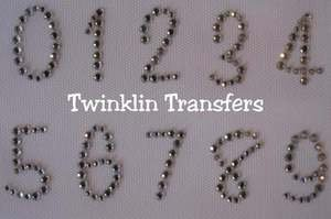Rhinestone Iron On Transfer NUMBERS 0 1 2 3 4 5 6 7 8 9