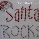 Rhinestone Iron On Transfer SANTA ROCKS HAT CHRISTMAS
