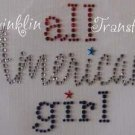 Rhinestone Iron On Transfer ALL AMERICAN GIRL JULY 4th
