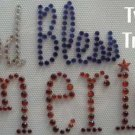 Rhinestone Transfer Hot Fix Iron On GOD BLESS AMERICA U