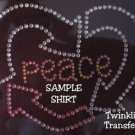 Rhinestone Iron On Transfer RECYCLE HEART PEACE PINK