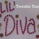 Rhinestone Iron On Transfer RETRO LIL DIVA PINK FLOWERS