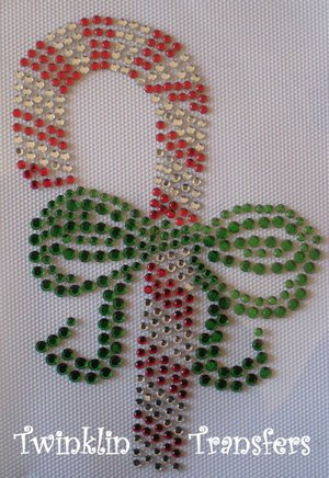 Rhinestone Hot Fix Iron On Transfer XMAS CANDY CANE BOW