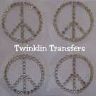 Rhinestone Hot Iron On Transfer 4 MINI PEACE SIGN CLEAR