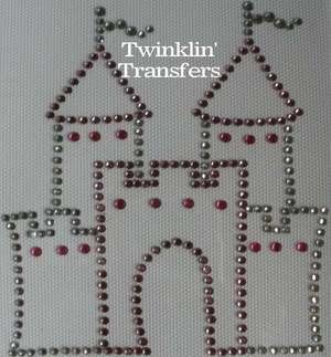 Rhinestone Transfer Iron On PINK PRINCESS CASTLE