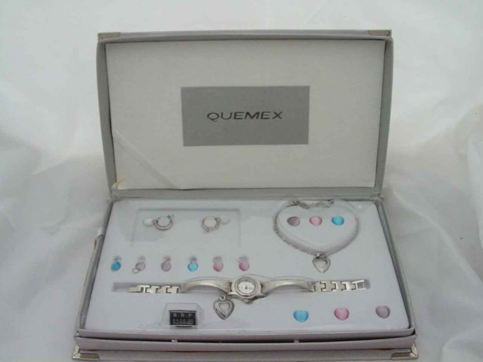 LADIES QUEMEX WATCH NECKLACE & EARRING GIFT SET NEW