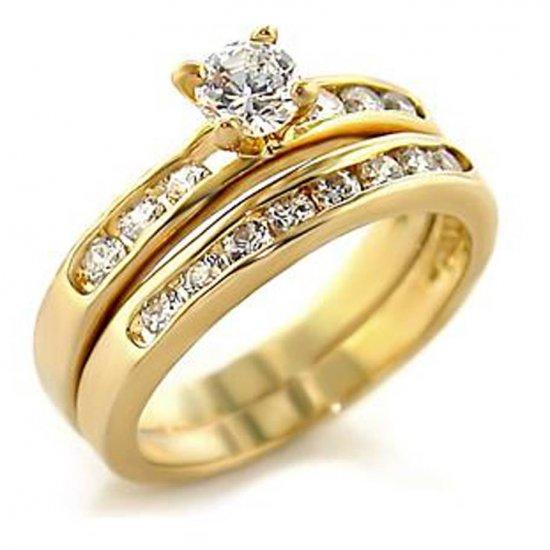 New Gold Finish Clear CZ Wedding Ring Set Size 6