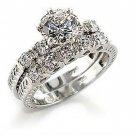 New Rhodium Plated  Clear CZ Wedding Ring Set