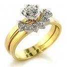 New Gold Finish Clear CZ Wedding Ring Set