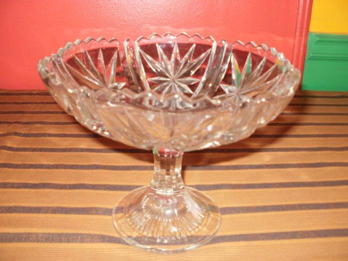 Cut Glass Candy Dish (Platter) on Pedastal