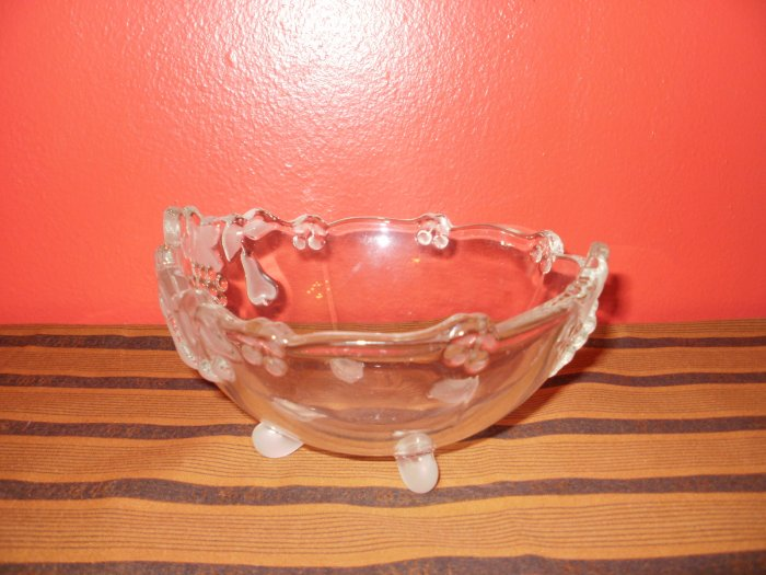 Cut Glass Fruit Frosted Engraved Candy Dish