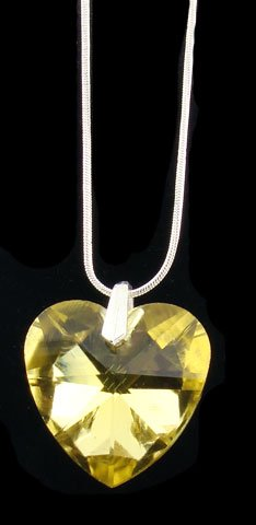 SWAROVSKI CRYSTAL HEART PENDANT LIGHT TOPAZ 20MM