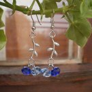 Sea Blue Crystal Beaded Earrings Crystal Jewelry Handcrafted Designer Gift Jewelry Flower Leaft