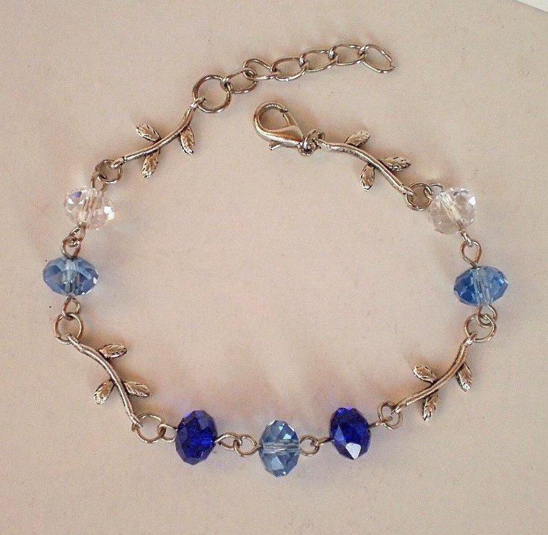Sapphire Blue /Dark Cobalt Crystal Beaded Bracelet Handmade Designer Gift Jewelry Flower Leaft