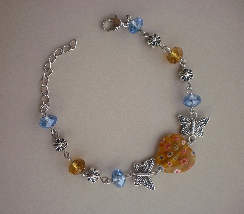 Murano Glass Yellow & Blue Crystal Beaded Bracelet, Butterflies/ Flowers Handcrafted Jewelry