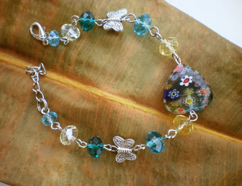 Colorful Crystal Beaded Bracelet/ Blue Zircon/ Millefiori Glass Heart Element / Butterfly
