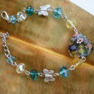 Colorful Crystal Beaded Bracelet/ Blue Zircon/ Millefiori Glass Heart Element / Butterfly