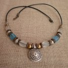 Necklace Copper Silver Bronze Beads Tuquoise White Glass Beads Silver Pendant Handcrafted Jewelry