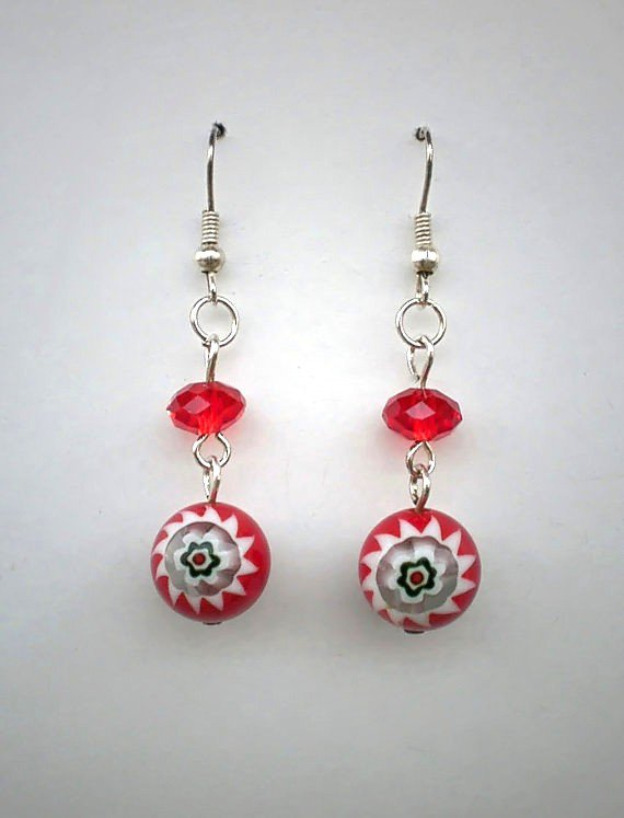 Red / White Millefiori Floral Beaded Earrings Handcrafted Jewelry Design Great Gift