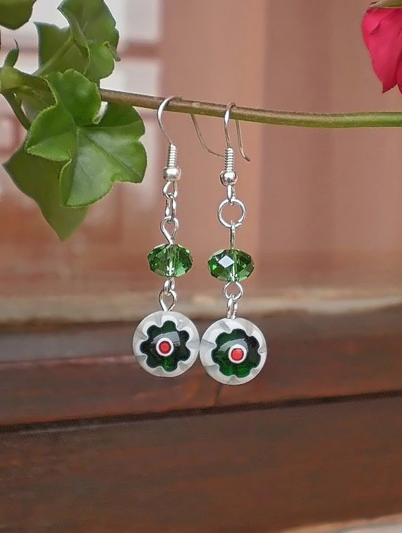Green/ White Millefiori Floral Beads & Green Crystal Beaded Green/ White Handcrafted Jewelry