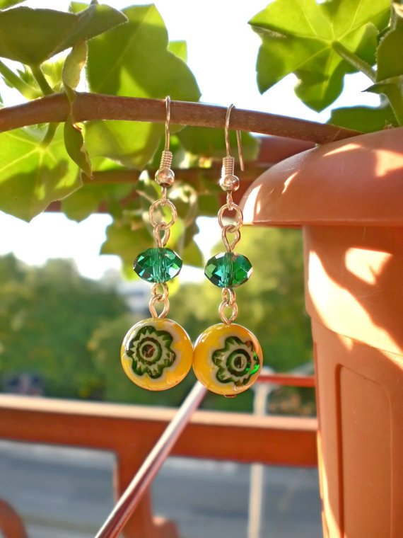 Yellow Floral Glass Beads & Emerald Green Crystal Beads Earrings Handcrafted Original Jewelry