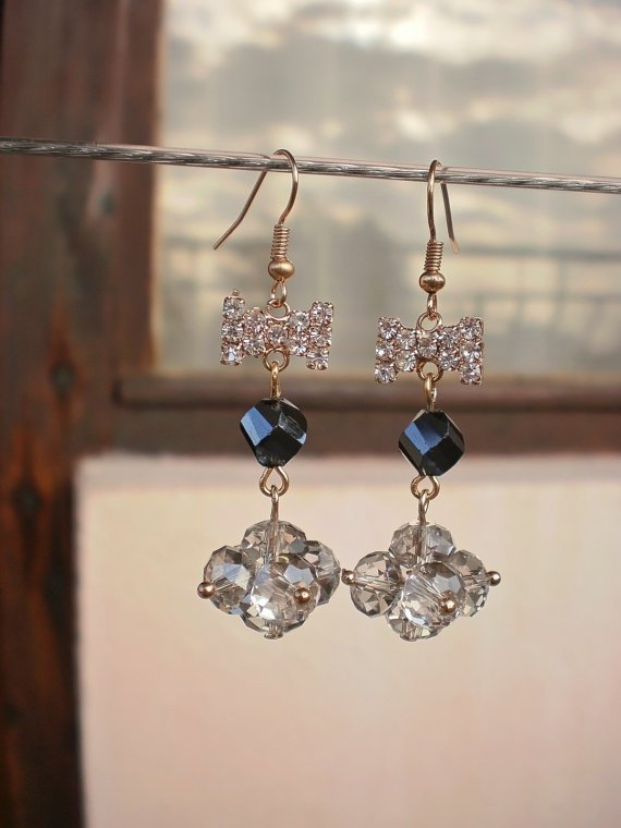 Crystal Beaded Earrings Hard Coal & Smoky Grey Crystal Bows Earrings Handcrafted Designer Jewelry