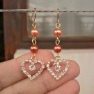 Pale Peach&Copper Glass Pearl Sparking Heart Dangle Beaded Earrings Handcrafted Original Jewelry