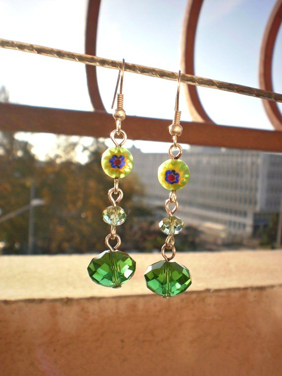 Green/ Peridot  Floral Beads & Green Crystal Beaded Green/ Peridot Handcrafted Designer Jewelry