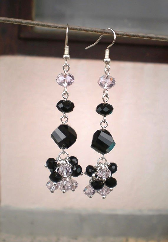 Jet Black & Light Rose AB Crystal Beaded Earrings Handcrafted Design Original Jewelry