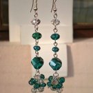 .Emerald Green Transparend AB Dangle Beaded Earrings Handcrafted Design Original Gift Jewelry