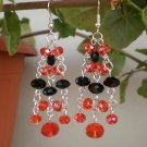 Wonderful Earrings Orange/ Brigth Red & Jet Black Crystal Beaded Dangle Earrings Original Jewelry