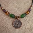 Necklace Copper Silver Bronze Beads Med Emerald Green Purple Topaz Glass Beads Copper Pendant