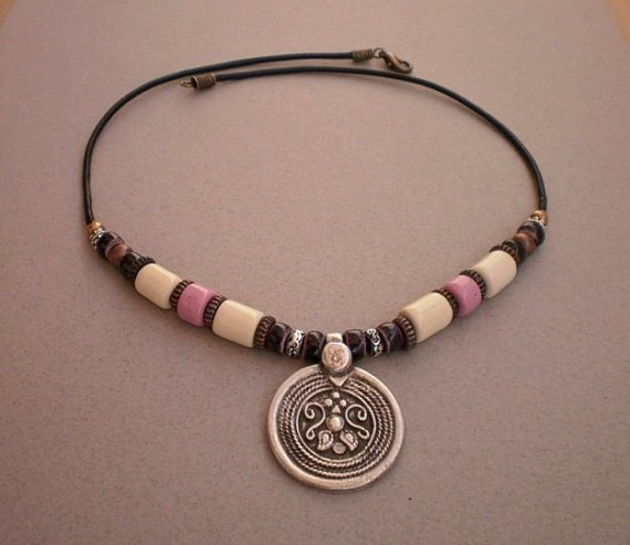 Necklace Copper Silver Bronze Beads Cream Ivory Pale Rose Ceramic Beads Silver Pendant