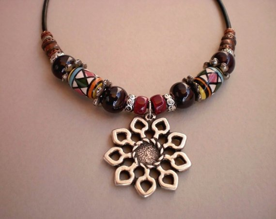 Necklace Copper Silver Beads Garnet Dark Purple Colorful Ceramic Beads Silver Sunflower Pendant