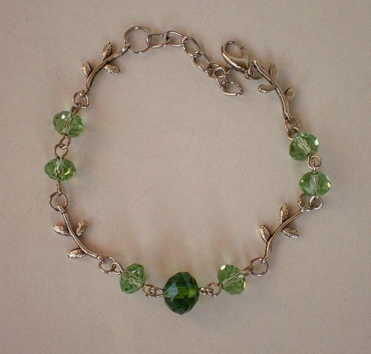 Peridot Green Crystal Beaded Bracelet Handmade Bracelet Designer Jewelry Fall Fashion Flower Leaft