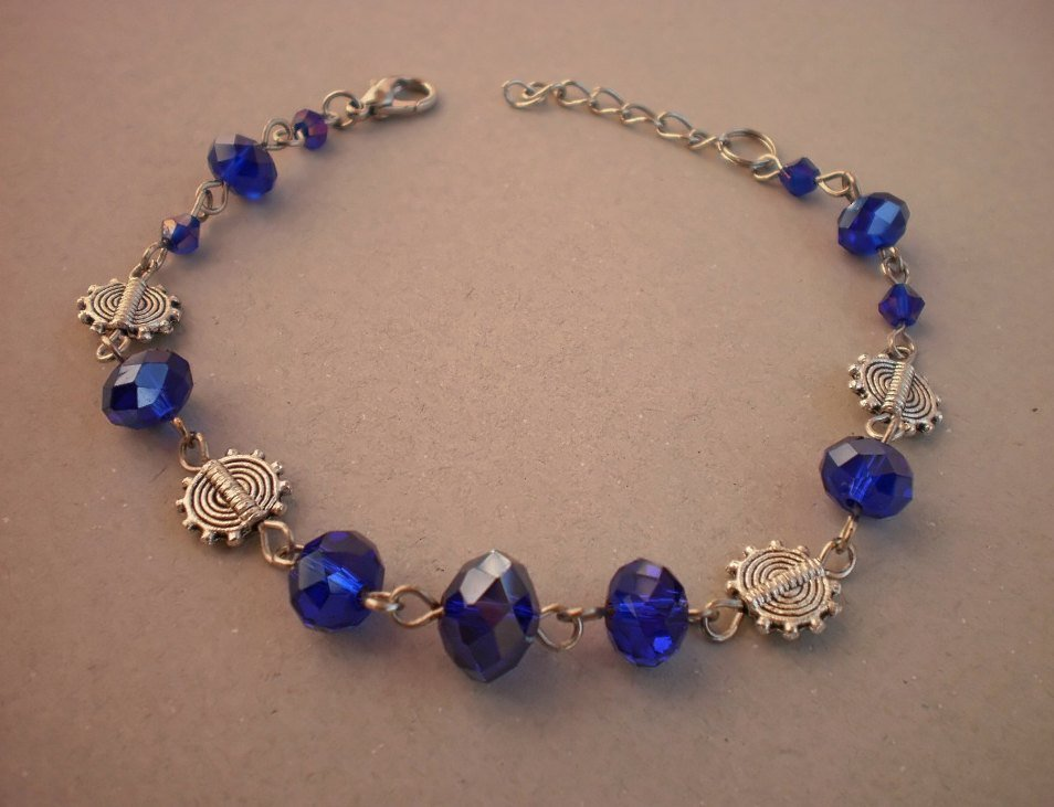 "Crystal beaded ""Dark Cobalt"" Bracelet Handcrafted Designer Jewelry"