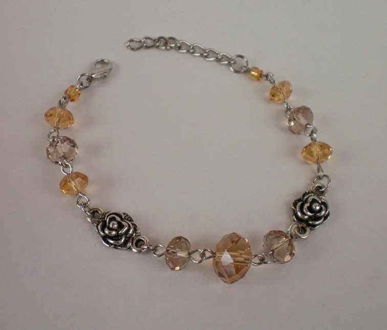 Crystal Beads Light Colorado Topaz / Smoky Quartz Bracelet Handcrafted Designer Jewelry
