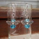 Blue Bees Earrings bee Butterfly Crystal Beaded  Earrings Handcrafted Original Gift Jewelry
