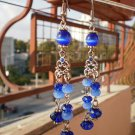 Light Navy Royal Blue Dangle Crystal Beaded Earrings  Handcrafted Original Gift Jewelry
