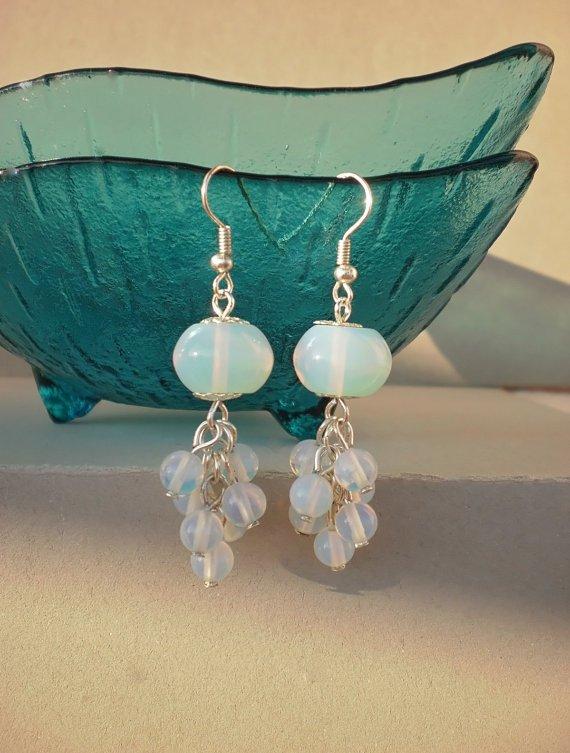 Moonstone Beaded Earrings Designer Handcrafted Natural Stone Jewelry Gemstone Earrings