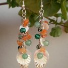 Cluster Grape Beaded Earrings Shell Malachite Carnelian Serpentine Earrings Handcrafted Jewelry