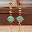 Color Crystal Beaded Long Earrings Gemstone Beadwork Earrings Handcrafted Designer Jewelry