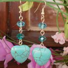 Turquoise Semi-Precious & Emerald Blue Zircon Crystal Beaded Earrings  Heart Dangles Earrings